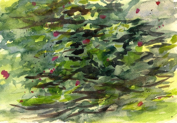 """Difficulties Explaining the Beauty, 7 x 10 1/4"""" original watercolor painting"""