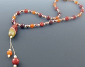 20% off Summer Sale  Faceted carnelian necklace with vintage carnelian pendant