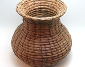 Brown Urn/Vase shape Woven Pine Needle Basket