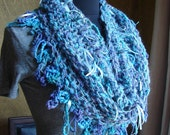 Cowl in Peacock Blue and Purples