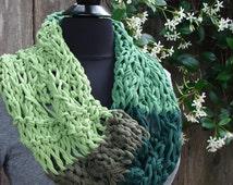 "Jersey Yarn ""COBBLESTONE"" Cowl- Knit in shades of Meadow Green"