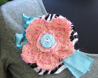 Flower Pin, Whimsical Zebra, Turquoise, and Blush