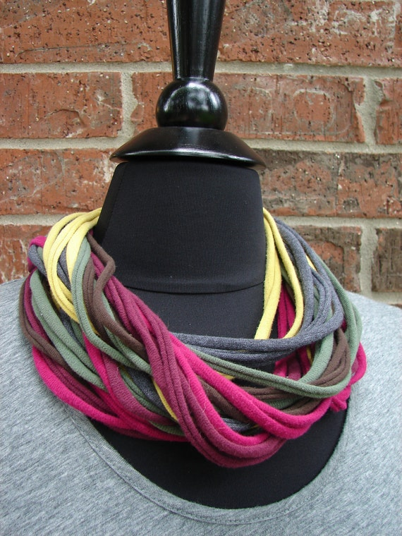 Jersey Circle Scarf in Wine, Chocolate, Pomegranate, and Mossy Yellow-Green
