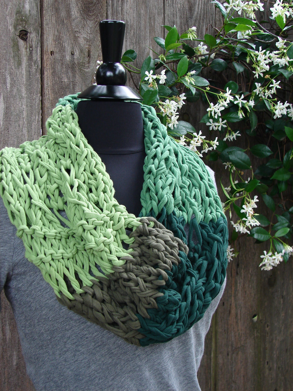 Jersey Yarn COBBLESTONE Cowl Knit in shades by EverydayArtDesign