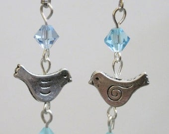 Silver Bird and Sky Blue Crystal Earrings