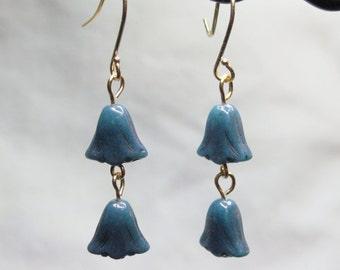 Blue Tulip Dangle Earrings