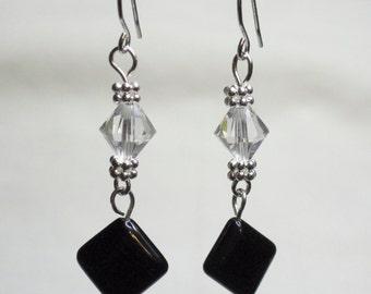 Onyx and Swarovski Crystal Dangle Earrings