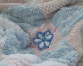 Vintage Chenille Shabby Chic Daisy Throw Bedspread Blue Pink White
