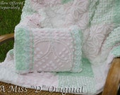 RESERVED for Leslie3405 ONLY - Quilt Throw Shabby Chic Vintage Chenille in Minty Green Soft Pink and White