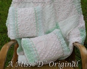 RESERVED for Leslie3405 ONLY - Pillows Shabby Chic Vintage Chenille Set in Minty Green Soft Pink and White