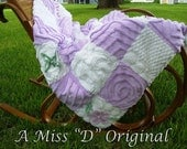 Quilt Throw Shabby Chic Patchwork Vintage Chenille Purple and White