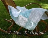 Quilt Throw Shabby Chic Vintage Chenille in Sea Glass Blue
