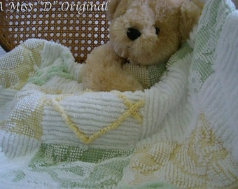 Newborn Baby Doll CarSeat Stroller Carry Blankie Quilt Vintage Chenille