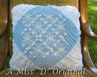 Vintage Shabby Chic Chenille Pillow in Blue and White
