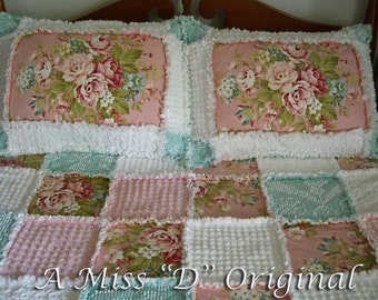 Raggy Quilt/Bedspread with Shams & Tuffett, Designer Wild Rose Farm and Vintage Chenille - Double/Full