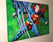 Superman vs. Doomsday  -  30x40 Canvas Painting