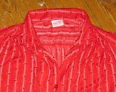 70s Red Striped Button Down with Gathers