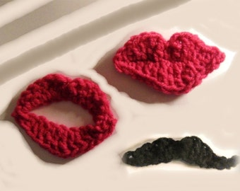 Instant Download Big Lips and Mustache Crochet Pattern  Fast  Easy Fun  Funky