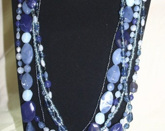 Blue long 6 stranded necklace