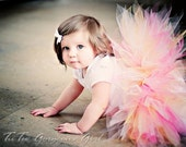 Pink Yellow & White Tutu...First Birthday Tutu, Portrait Tutu...Baby Toddler Girls Tutus . . . SUGAR AND KISSES