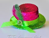 Mini Top Hat, Fascinator, Headpiece...Fuchsia and Lime Sequin...Dance Recital, Pageant, Photo Prop, Costume . . . JOLLETTE