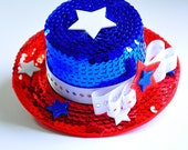 Patriotic Red White and Blue Sequin Mini Top Hat...4th of July, Independence Day, Fascinator, Photo Prop, Halloween Costume...MISS LIBERTY