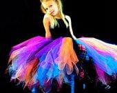 Girls Rock Star Long Tutu Skirt...Rainbow Tutu, Punk Rock Birthday Tutu, Rocker Pageant Tutu. . . GLAM GIRL