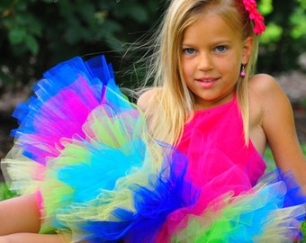 Summer Rainbow Birthday Tutu...Tropical Tutu...Island Hawaiian Birthday Tutu...Baby to Adult Tutu Sizes. . . SUMMER RAINBOW