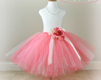 Coral and Ivory Flower Girl Tutu...Girls Coral Tutus...Portrait Tutu, Special Occasion Tutu...Toddler and Girls Sizes . . . CORAL PRINCESS