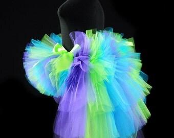 Mermaid Inspired Bustle Tutu...Purple Lime Turquoise...Birthday Tutu, Photo Prop, Dance Costume...Infant, Toddler, Girls . . . . . SIREN