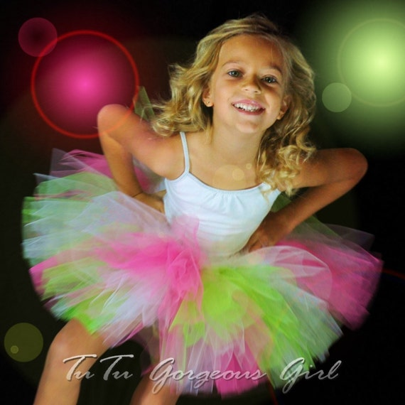 Apple Green, White, Pink Tutu, 10 inch length sewn tutu, up to size 6, please specify waist size in order notes