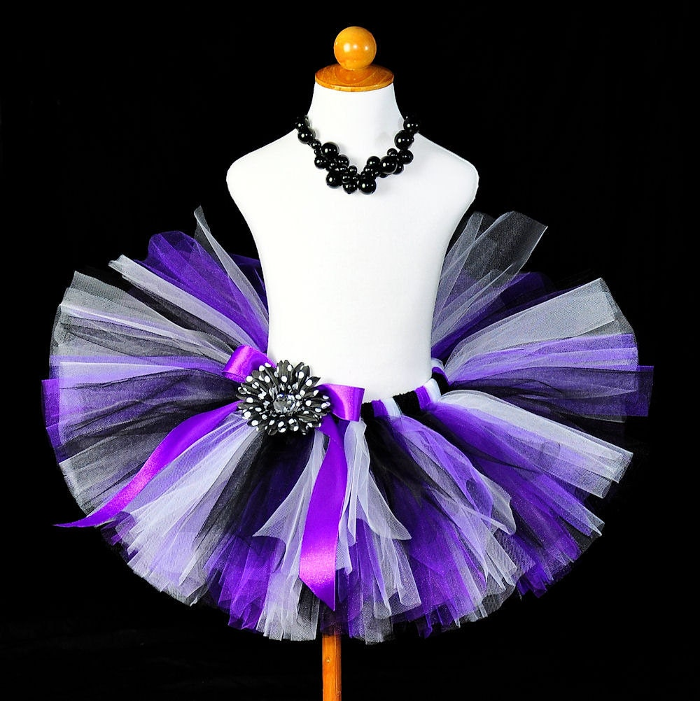 Tutus Tutu: Purple Black White Birthday Tutu...Halloween Witch Tutu Rock