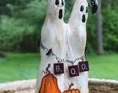 Cypress Knee Halloween Ghosts with Vintage Scrabble Pieces 'BOO'