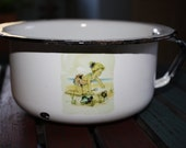 Child's Vintage Antique Graniteware Enamelware Chamber Pot with Beach Decal