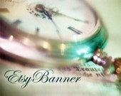 Banner avatar graphic design set for your Etsy shop. I customize this pre made set for you. OOAK.  Shabby chic, teal, turquoise, watch, purple.