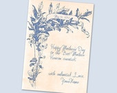 Printable Mother Day card. Personalized Mothers Day floral card. Mother card flower, vintage flowers. Choose your color. 5x7 card.