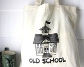 Teacher Gift- Old School cotton canvas tote- screen printed Simple Natural Reusable lightweight