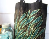 Emerald Seaweed  Summer Tote -HAND PAINTED-  Black reusable- Medium Snack Pack- Beach bag