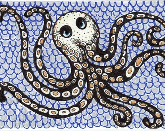 Hand Drawn Octopus Card - Pen and Ink Sea Life ORIGINAL Drawing - Nautical Nursery - Mini Art