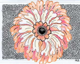 Peach Passion Exotic Flower Hand Drawn Card - Pen and Ink Drawing - Papercut Out Note Card - Color Pencil Drawing