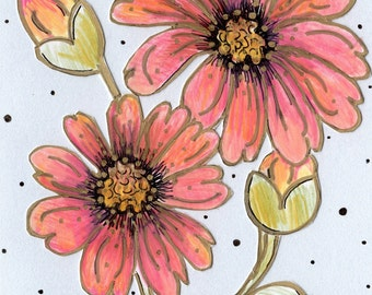 Peach Dahlia Hand Drawn Card - Pen and Ink Colored Pencil Drawing - Paper Cut Out Metallic Card