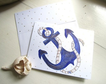 Blue Anchor - Anchor Card - Nautical Card - Hand drawn Card - Polka Dot - Cut Out Metallic Note Card