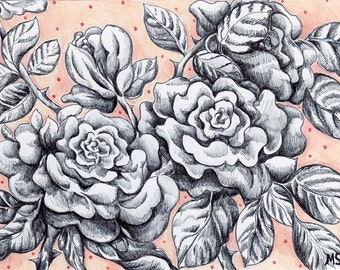 "Pale Pink Rose Drawing - Pen and Ink Drawing - Original HAND DRAWN 5x7"" Sweet Rose Romantic Flower Art - Wall Art - Wife Gift - Valentines"