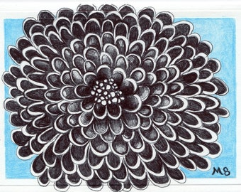 """Black Flower Card - Pen and Ink - Flower Drawing - Hand Drawn Card - """"Blue Moon Midnight Mum"""""""