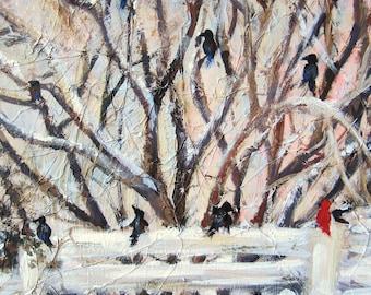 "Winter Tree Print - Red Cardinal - Winter Birds - Wall Decor - Winter Print - Art Print  8x8"""