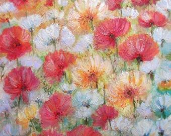 "Poppies Painting Print, 8 x 10"" Art Print, Floral Print, Kitchen Wall Art, Spring Decor, Happy Garden"