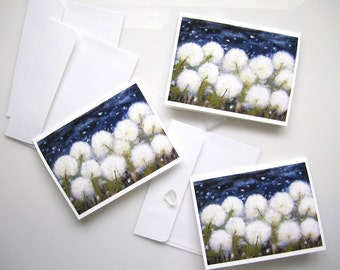 Dandelion Cards - Dandelion Stationery Set, 4x5 printed art note cards, 11:11 Make A Wish, Evening Moonlight Greeting Cards