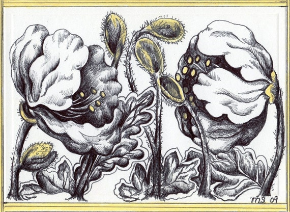 Yellow Poppy Flowers- ORIGINAL HAND DRAWN Card and Mini Art For Your Wall