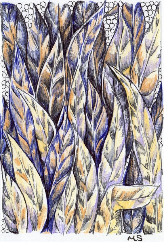 Tribal Feather Card - Ink Drawing - Leaf Drawing - Hand Drawn Art Card - Purple and Gold - Pen and Ink