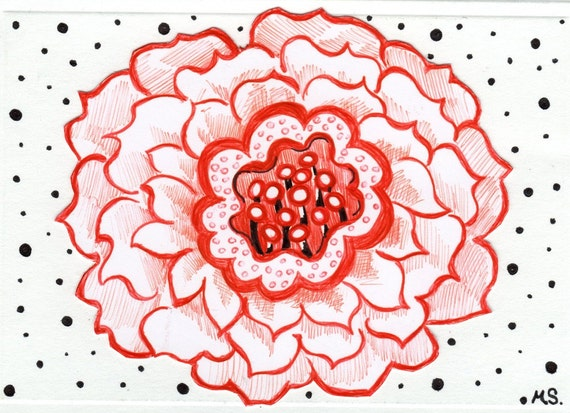 Red Flower Valentine Card with Black Polka Dots -  Card For Him - Hand Drawn Card - Pen and Ink Drawing - Papercut Art